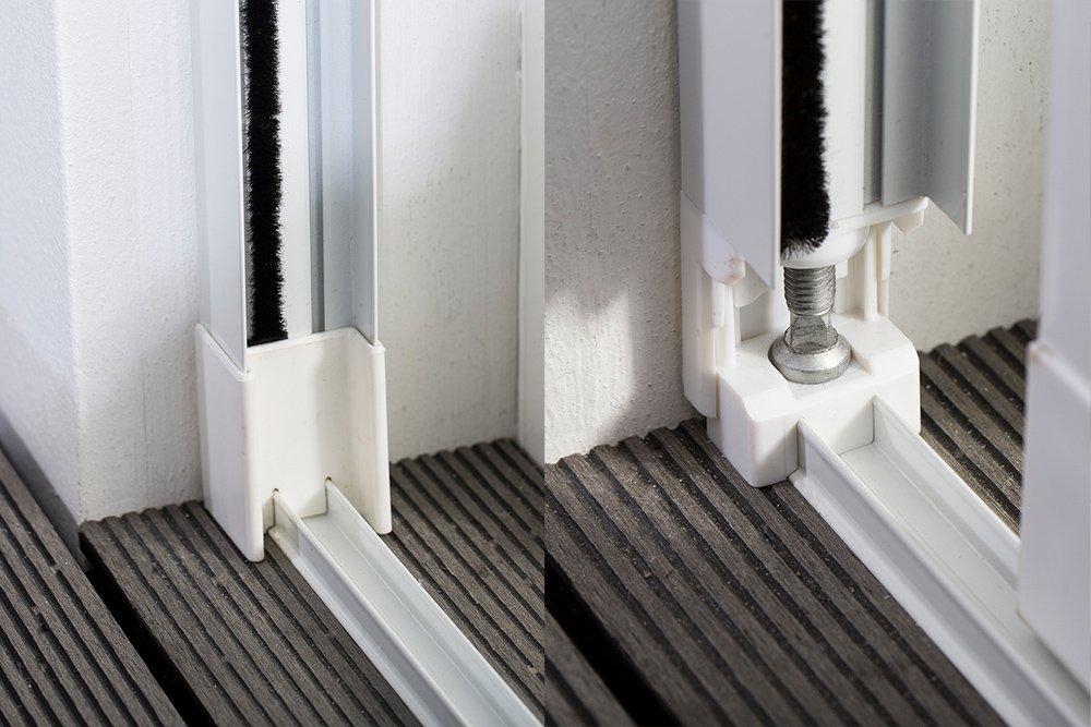 Moustiquaire Coulissante Baie vitr/ée XXL 2 Panneaux Alu L240 x H240 cm Blanc