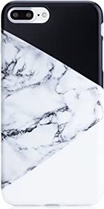 Marble iPhone 7 Plus Case Black and White,iPhone 8 Plus Case,VIVIBIN Shock Absorption Matte TPU Soft Rubber Silicone Cover Phone Case for iPhone 7 Plus/8 Plus 5.5inch