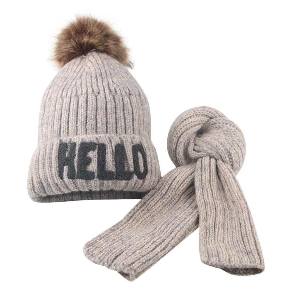 Kids Winter Hat Fleece Lined 2-8Year Toddler Fur Pompom Cap Scarf Set Knit Hats Coffee