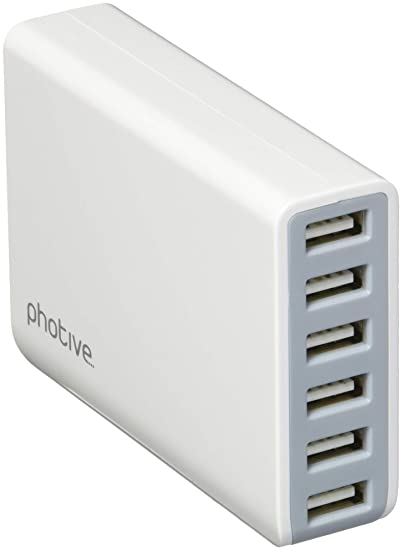 Photive-6 Port 60W USB Charger,Intelligent USB Charging Technology