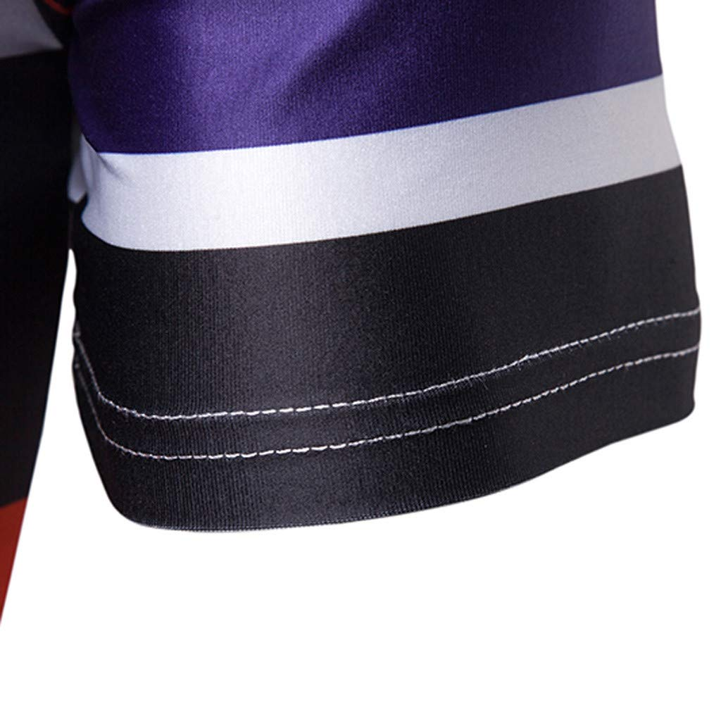 Eoeth Fashion Mens Mandatory Short Sleeve Stripe Button Mixing Colour Pullovers Shirt Top Blouse