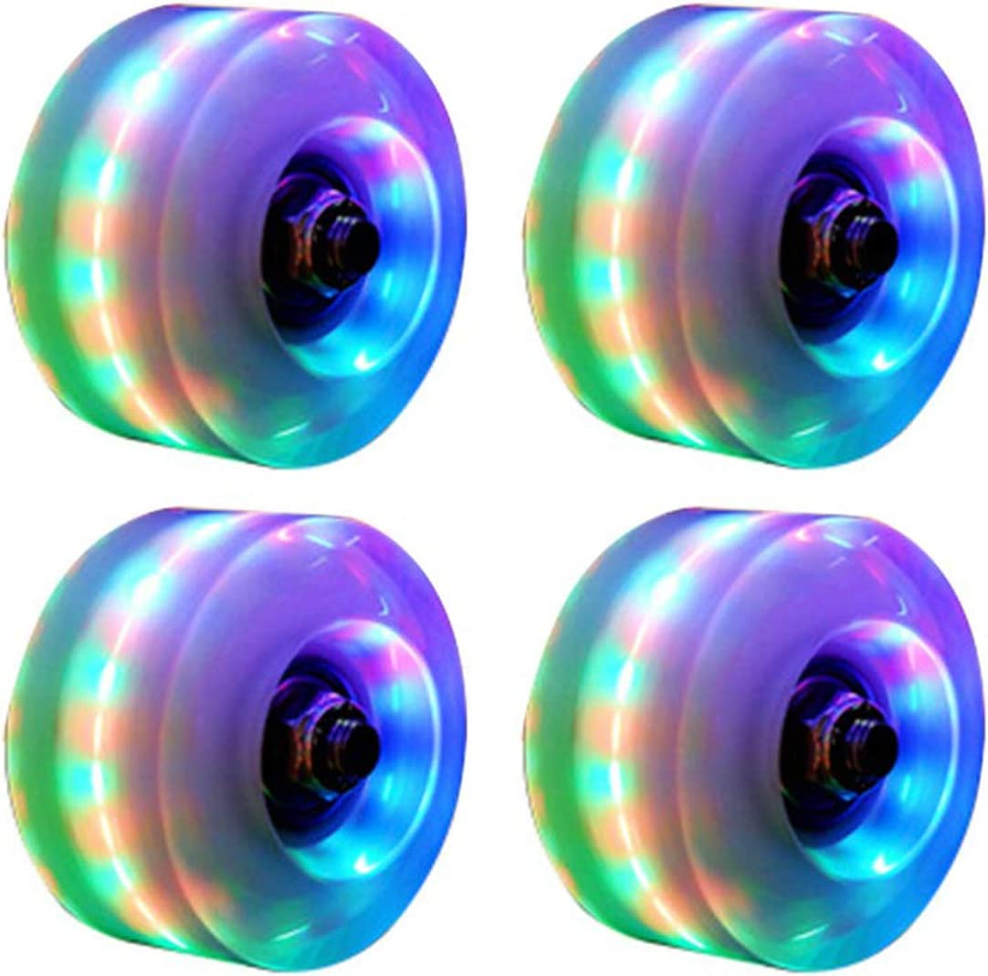 ILMU 8 Piece Roller Skate Wheels Outdoor Light Up Rainbow Quad Rollerskate Parts Tool Wheels with Skate Roller Bearings 32mmX58mm
