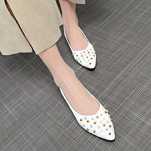 Mouth Shoes Comfort Shoes Comfort PU Summer Women's Bean Shoes White Fashion Shallow Women's GAOLIXIA Flat Walking Outdoor Rivets Shoes Colors 3 Casual EwFxqBfIP