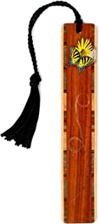 product image for Personalized Butterfly and Flower, Engraved and Colorized Wooden Bookmark with Tassel