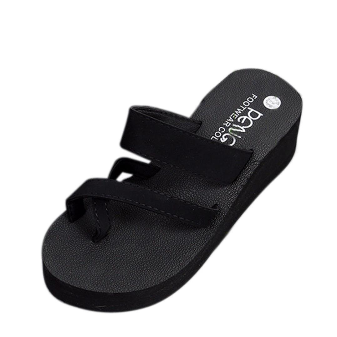 f22d037cdbd4 Amazon.com  SUKEQ Sexy Womens Wedge Platform Clip Toe Slip On Slide Sandal  Summer Non Slipper Criss Cross Thong Sandal Flip Flop Casual Slippers Beach  Wear  ...