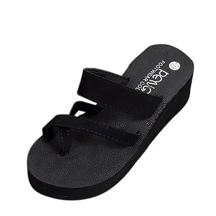01d29e3e45e5 SUKEQ Sexy Womens Wedge Platform Clip Toe Slip On Slide Sandal Summer Non  Slipper Criss Cross