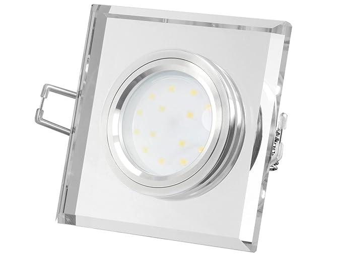 Foco LED muy plano (15mm) de cristal transparente cuadrado con 5
