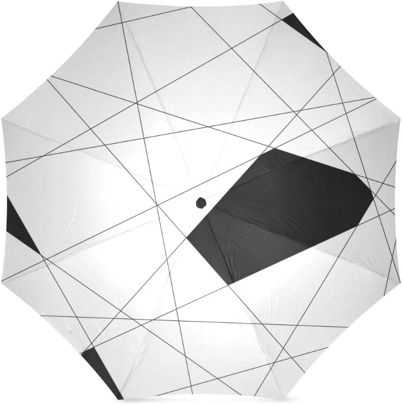 Folding Umbrella Rainproof /& Windprrof Umbrella Black and White Custom Umbrella Automatic
