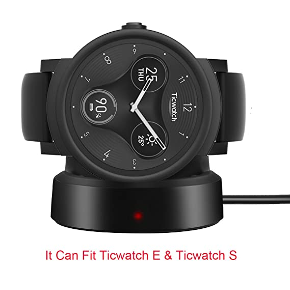 For Ticwatch E Charger, Lamshaw Wireless Charging Dock Cradle Charger for Ticwatch E/Ticwatch S Smartwatch (Ticwatch E/S - Black)