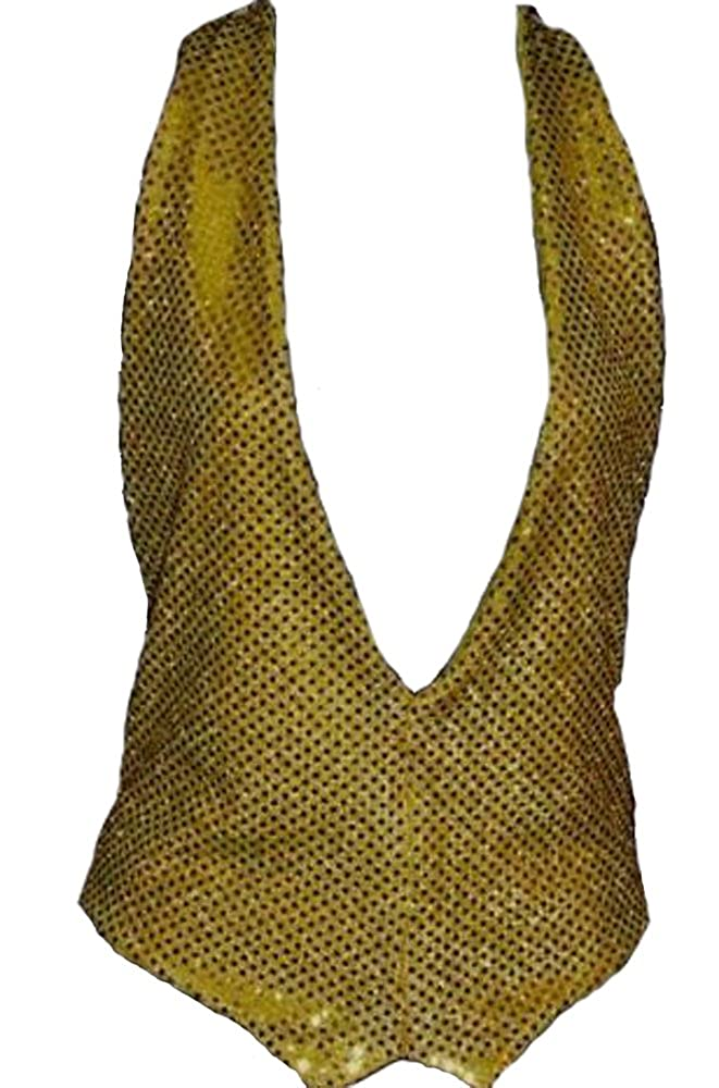 Gold Sequin Waistcoat And Bow Tie size S-M 8-16 BT The Dragons Den