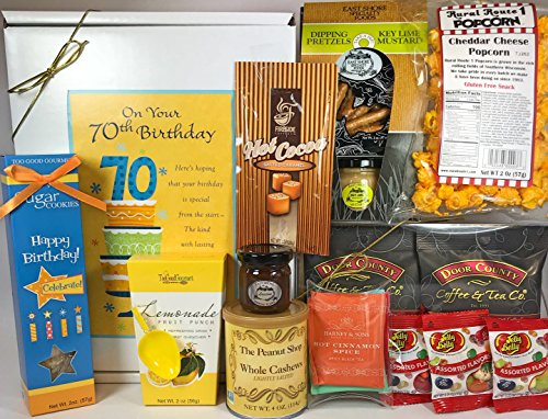 Happy 70th Birthday Gift Box Basket - Send Gourmet Coffees, Teas, Pretzels, Mustard, Fudge Sauce, Cookies, Hot Cocoa, Candy, Popcorn, and Nuts to Someone Special - Prime Happy Birthday 70 Men Women