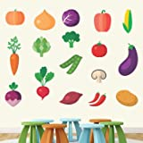 StickMe Kids Learning Education Nursery Pre School Kinder Garden PVC Vinyl Colourful Vegetables Wall Sticker (Multicolour, 150 x 150 cm)