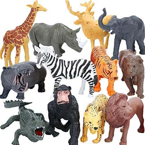 BOLMAZ Safari Zoo Animal Figurines Toys, 24PCS Plastic Jungle Animals Figures, Jumbo Forest Wild Animal Playset with Elephant, Giraffe, Lion for Baby Kids Toddlers Cupcake Topper Birthday Set