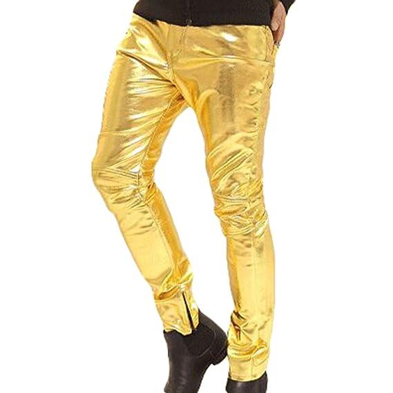 Kootk Herren Lederhosen Lang Hose Wetlook Clubwear Motorradhose Slim Fit Freizeithose Faux Leder Biker Hose M 3XL
