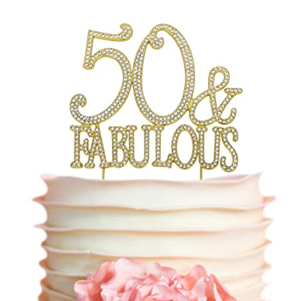 Amazon 50Fabulous GOLD Birthday Cake Topper