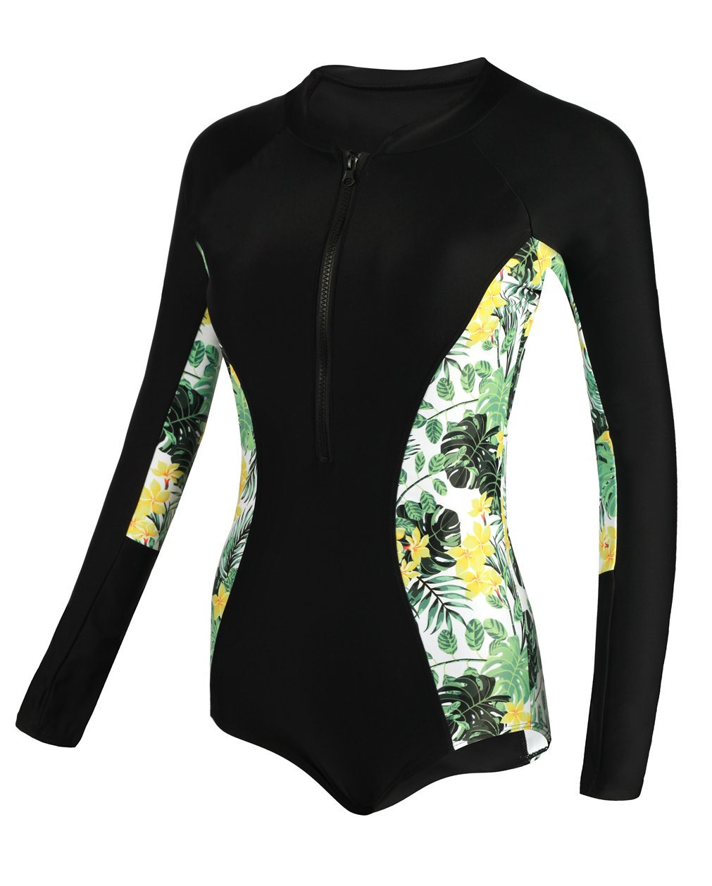 dilinte Women One Piece Swimsuit Floral Long Sleeve Sun Protection Swimsuit Rash Guard Beachwear (M, Print#6)