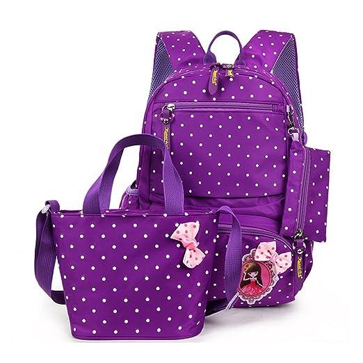 FRISTONE École Sac à dos/3pcs Enfants sac à sac à dos scolaire pour les filles+ Sac d'Épaule+Crayon sacs,Pourpre