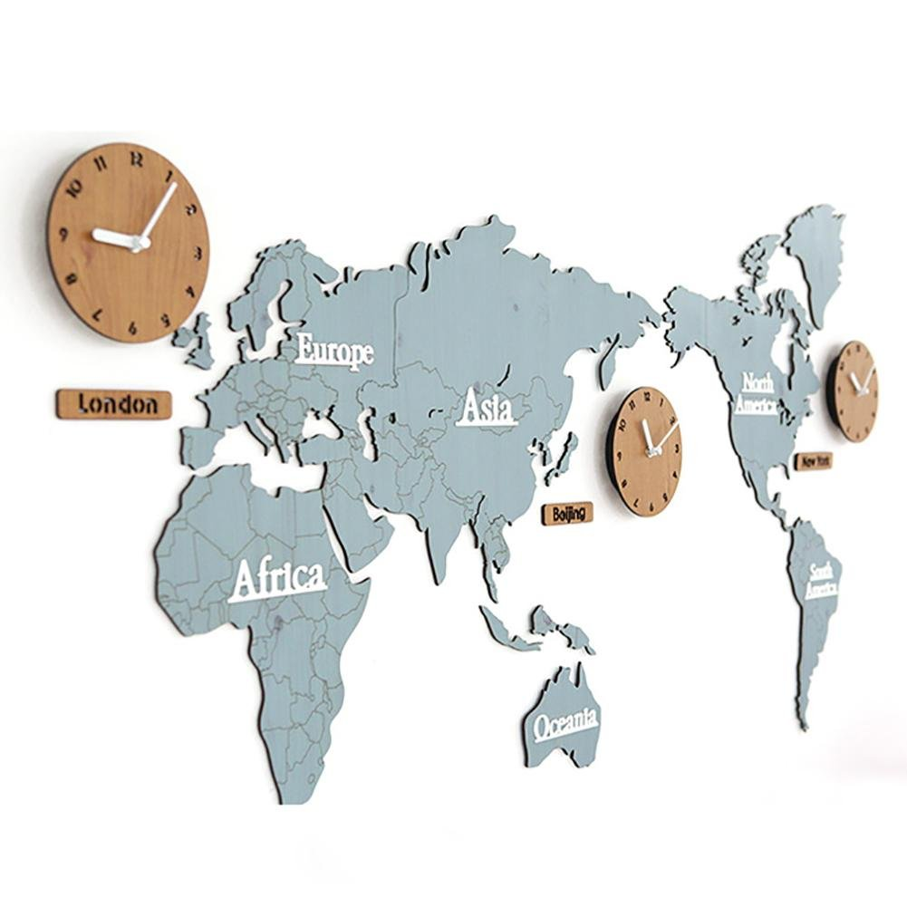 MCC Creative Home Decoration World Map Large Wall Clock Simple DIY Personalized Art Wooden 3 Country Hanging Clock , blue/log , 13763cm