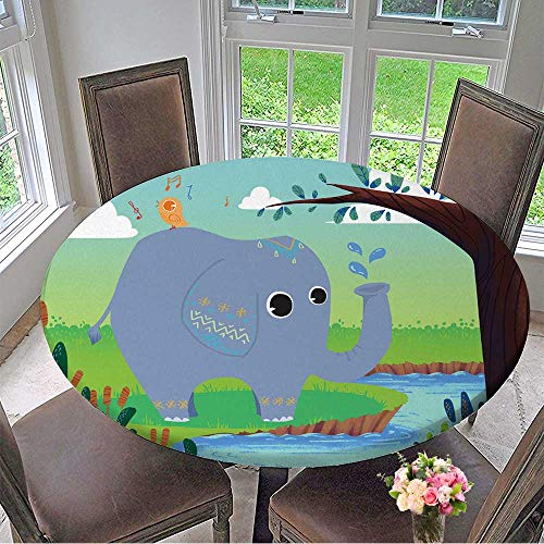 Mikihome The Round Table Cloth for Children Little Elephant is Washing and Little Bird is Singing! Happy Friends for Birthday Party, Graduation Party 40