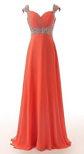 DianSheng Women's Long Chiffon A-line Beading Bridesmaid Dress Prom Gown Orange Red US15w