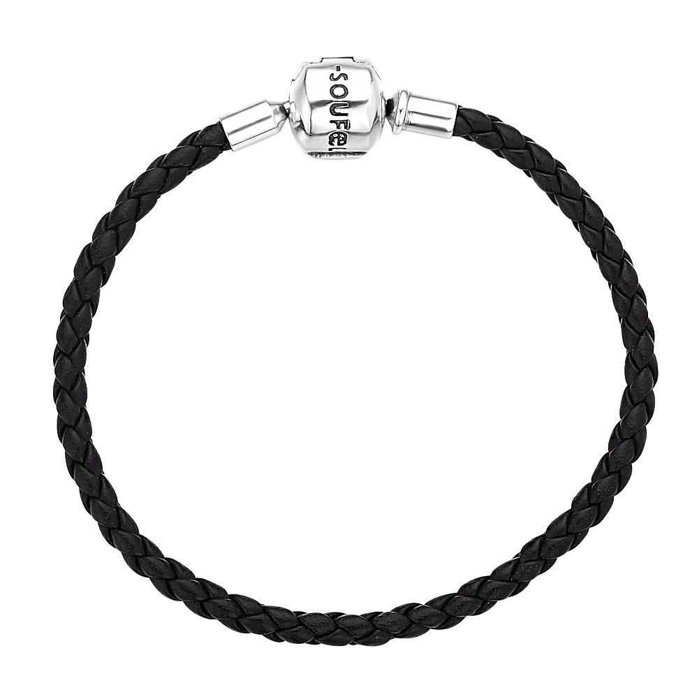 Soufeel Bracelet en Cuir Tressé Charmes pour Femmes et Hommes Fermoir en Argent Sterling 925 Noir Bracelets Européens Compatible 16-23 cm Vintage Casual WPL001-16