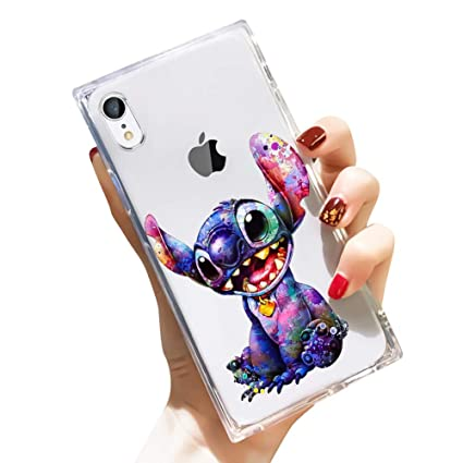 Disney Collection Iphone Xr Case Square Clear Transparent Cute Style Stitch Wallpapers Reinforced Corners Tpu Cushion Soft Slim Silicone Shockproof