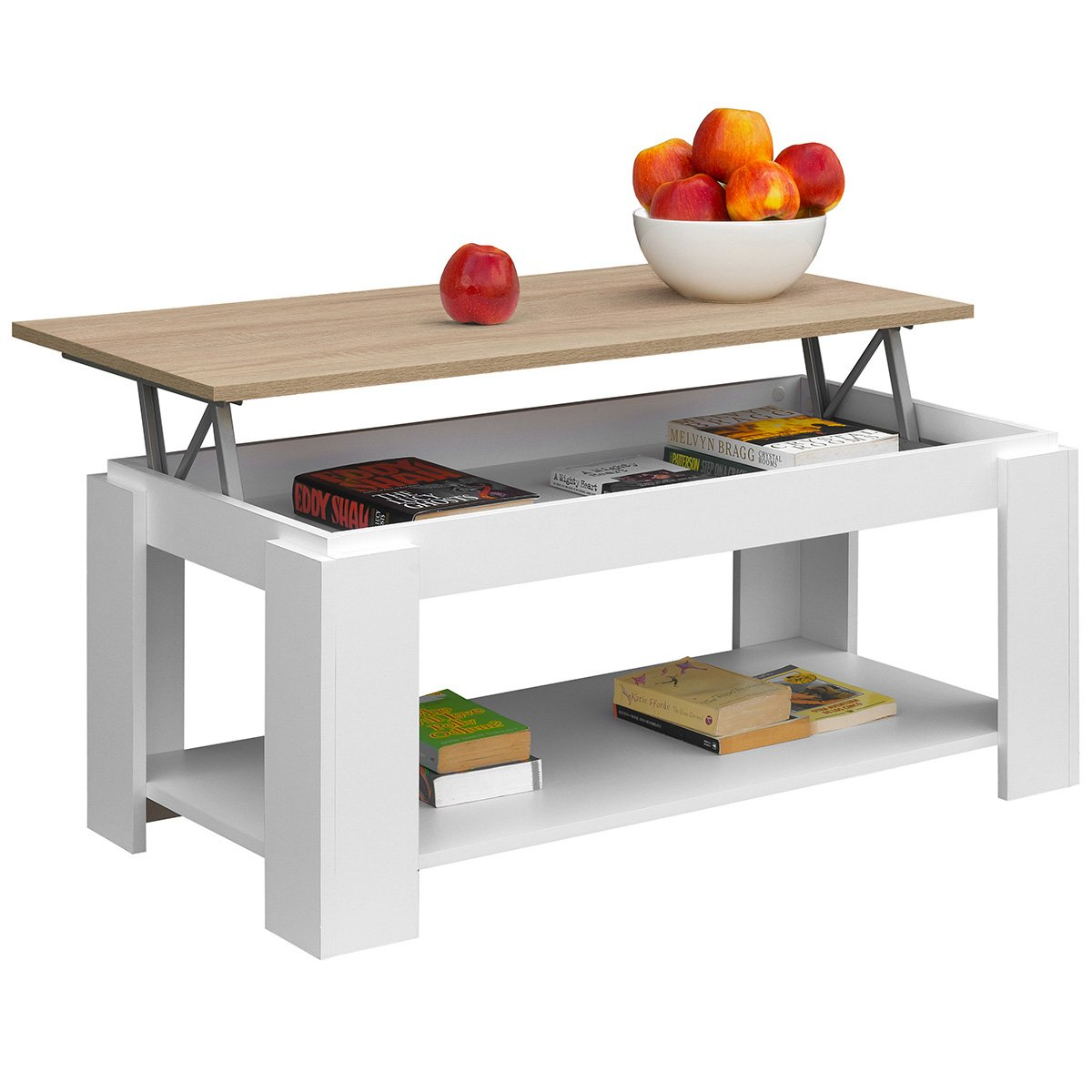 100/x 50/x 43//55/cm Comifort Tavolino da salotto con piano sollevabile e portariviste integrato