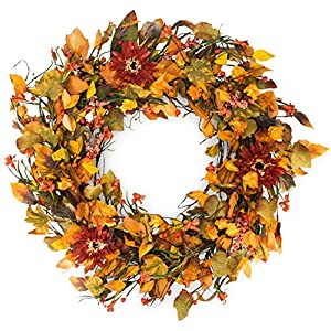 The Wreath Depot Highland Silk Fall Door Wreath, 22 inches 7