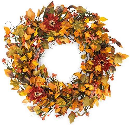 Highland Silk Fall Door Wreath 22 inches - Woodsy Autumn Foliage Enhances Door Decor, Approved for Covered Outdoor Use, Beautiful White Gift Box (Fall Door Wreaths)