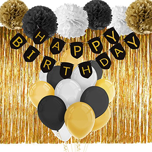 Paxcoo Black and Gold Happy Birthday Banner with Tissue Pom Poms Fringe Curtain and Balloons for Party (Black And Gold Birthday Party)