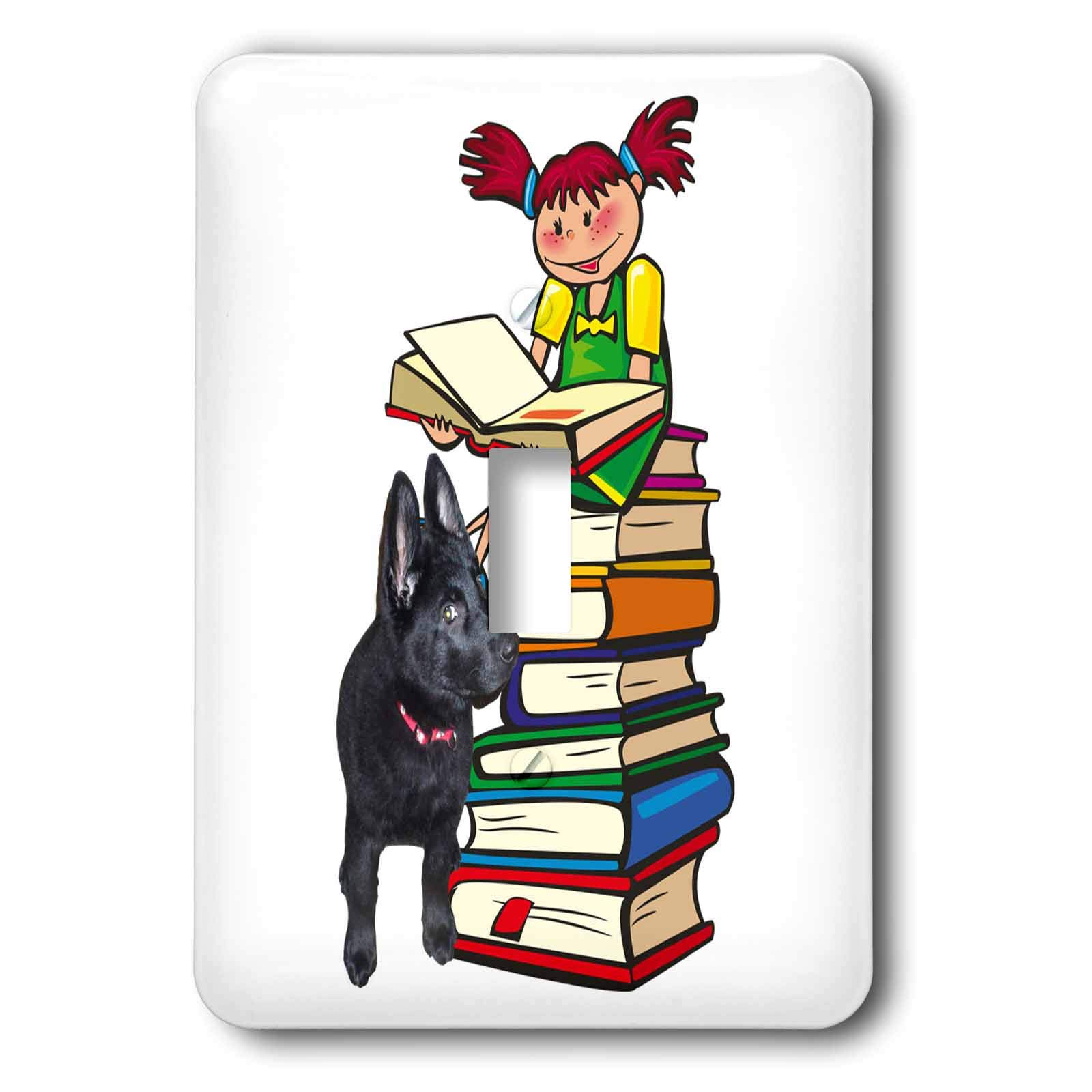 3dRose Sandy Mertens Dog Designs - Study Buddy GSD Puppy with School Girl on Books, 3drsmm - Light Switch Covers - single toggle switch (lsp_295174_1)