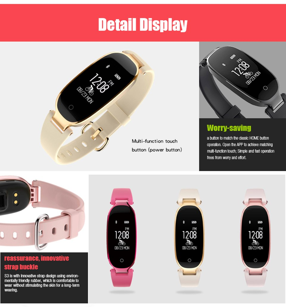 Businda Women Fashion Watch with Heart Rate Fitness Tracker Waterproof Smart Watch for Android IOS