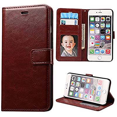 """iPhone 6S Plus Case,Next-shine[Layered Dandy][Brown] - [Card Slot][Flip][Slim Fit][Wallet] - For Apple iPhone 6 Plus and iPhone 6S Plus 5.5"""" Devices"""