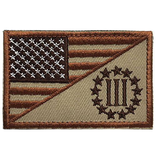 an Flag w/ Three Percenter 3% Military Tactical Morale Badge Decorative Emblem Patch 3