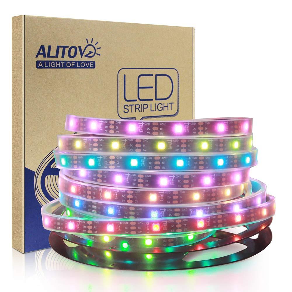 ALITOVE 16.4ft WS2812B Individually Addressable LED Strip Light 5050 RGB SMD 150 Pixels Dream Color Waterproof IP67 Black PCB 5V DC