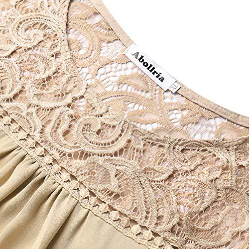 Tops Tunique Col Shirt Femme Manches Fleuri Chemisier T Mousseline Pull Dentelle Beige Soie Femme Haut Blouse Chic en de Longues Rond Ewq8BPq