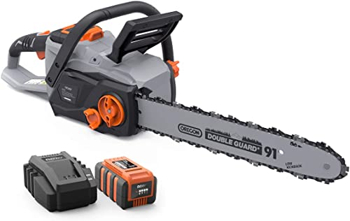 JIUNENG Lithium Electric Cordless Chainsaw, Electric Chain Saw Multi Power Cutter Tool 8 Inch 21V Battery Included