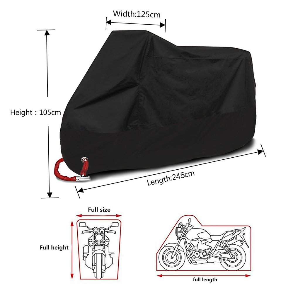Anti Dust Rain UV Protective Cover 190T Polyester Fabric Waterproof Motorcycle Cover /& Motorbike Scooter Shelter Protector Breathable with Lock Buckles Elasticated Hems /& Storage Bag. XXXL, Black
