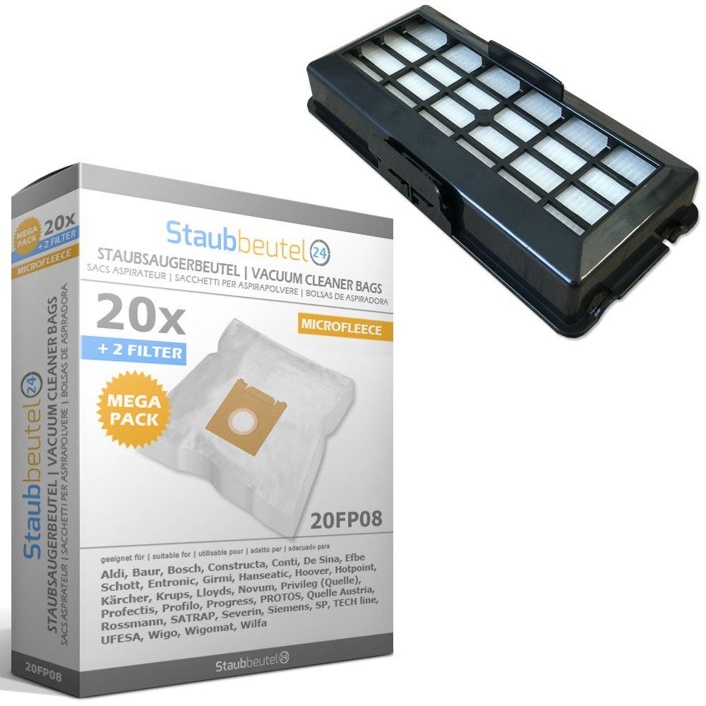 Hygienixx Pro Silence Filtro HEPA 20 Sacchetti Per aspirapolvere BOSCH: BSG 71 // 72 Formula
