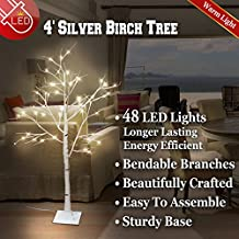 BenefitUSA 4ft /6ft Silver Birch Tree Light W/ Icicle Twinkling Flexible Christmas (4ft 48 LED)