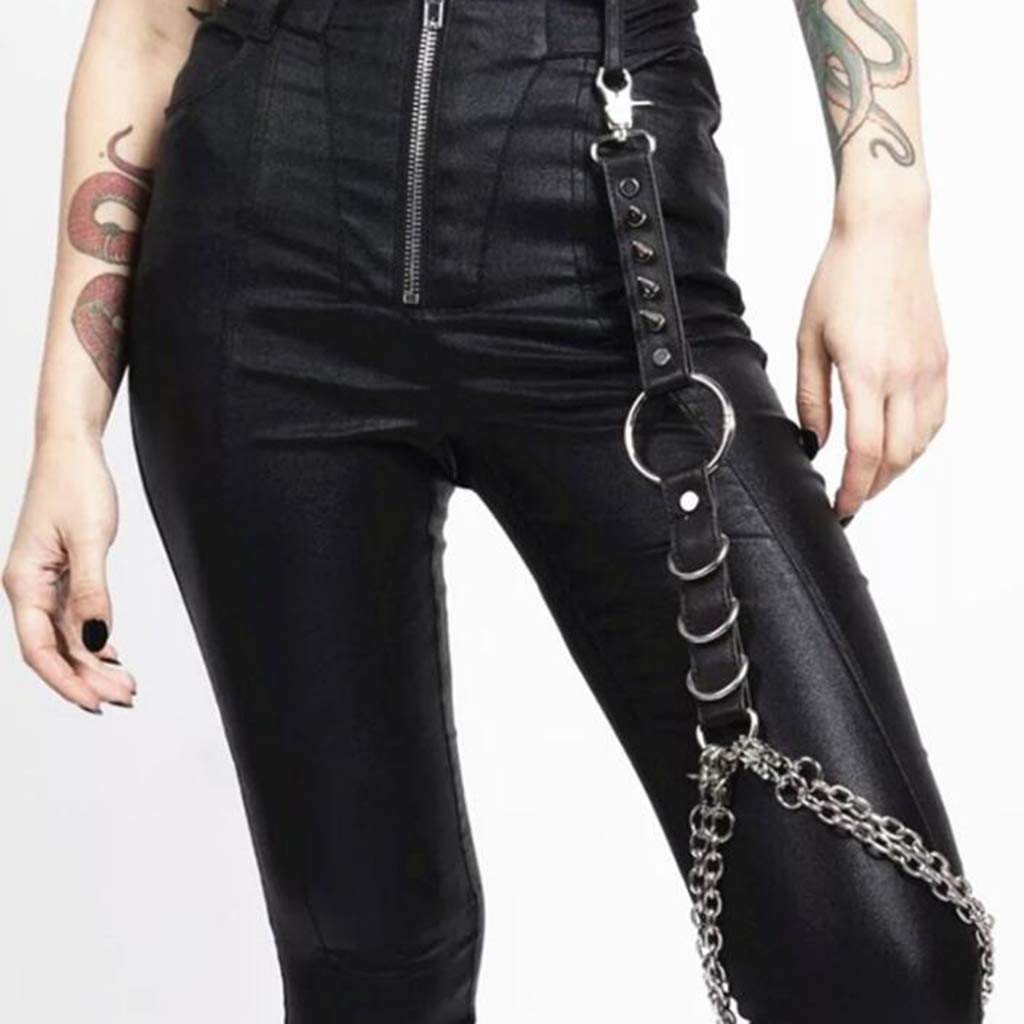 SM SunniMix Womens Leather Harness Thigh Garter Belt Single Leg Strap Clubwear Rock Black