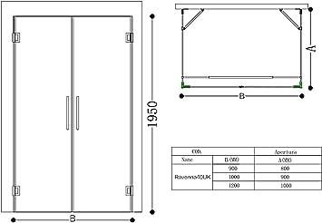 doporro Cabina de ducha forma-U Rav40 80x90x195cm vidrio transparente y revestimiento para fácil limpieza: Amazon.es: Bricolaje y herramientas