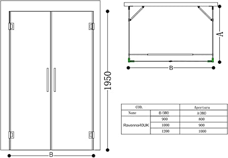 TBH: 100 x 120 x 195 cm Mampara de ducha ravenna40, forma de U ...
