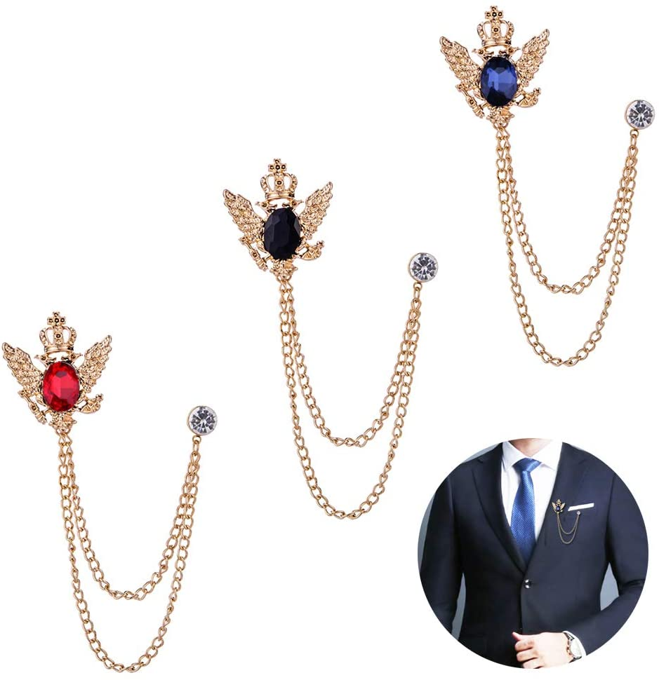 Huture 3PCS Men's Brooch Suit Pin Badge with Chains Brooch Buckle Chain Collar Lapel Pin for Men Shirt Collar Pin Chain Brooch Decoration Metal Brooch Pin Clips for Women Suit Tuxedo Tie Hat Scarf