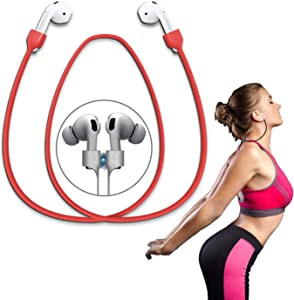 Airpods Strap Magnetic Super Strong Cord Anti-Lost Leash Sports String - Accessories for Airpods PRO/2/1(Red)