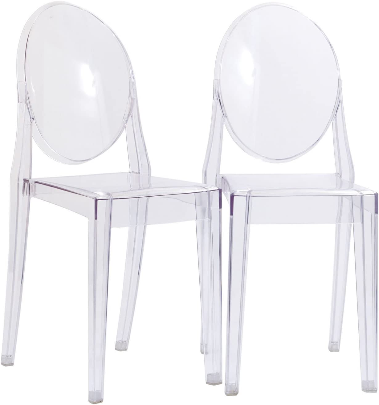 Modway Casper Modern Acrylic Stacking Two Kitchen and Dining Room Chairs in Clear – Fully Assembled