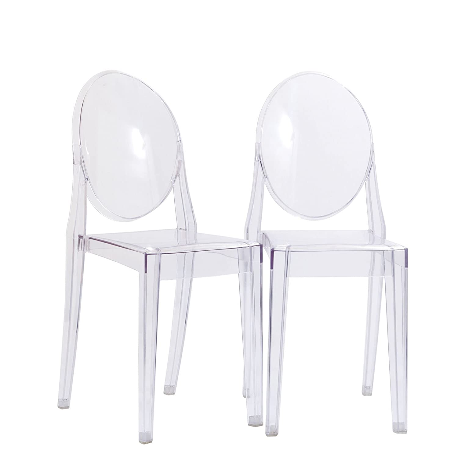Amazon.com   Modway Casper Modern Acrylic Dining Side Chairs In Clear   Set  Of 2   Chairs