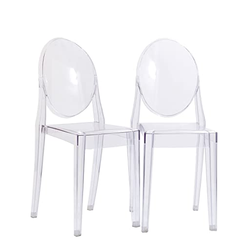 Modway Casper Modern Acrylic Stacking Two Kitchen and Dining Room Chairs in Clear - Fully Assembled
