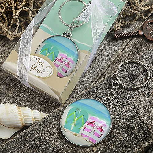 108 Beach Themed Flip Flop Design Key Chains with a Clear Glass Dome by Fashioncraft
