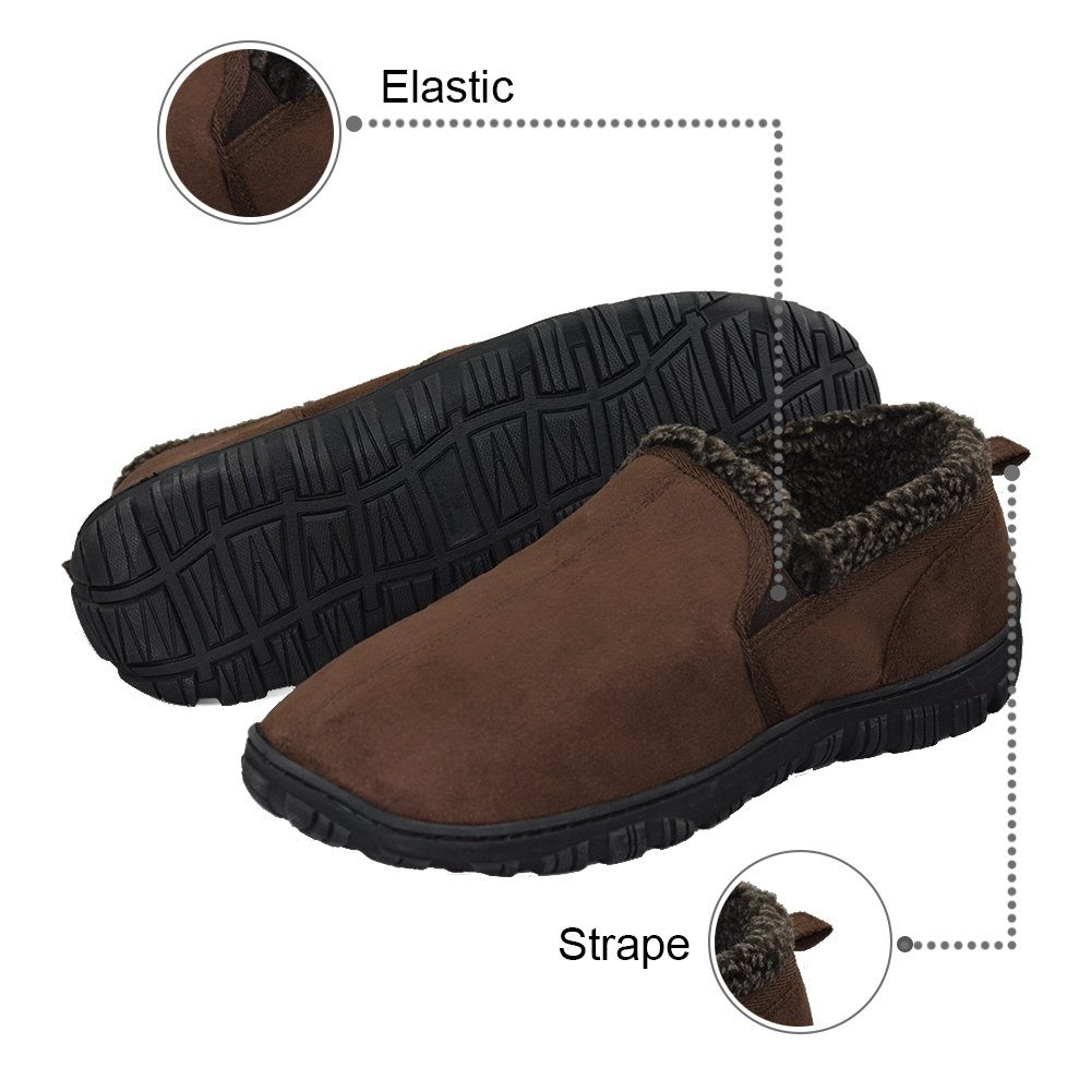 LA PLAGE Men's Anti-Slip Indoor/Outdoor House Slippers with Hardsole Size 11 US Brown by LA PLAGE (Image #2)